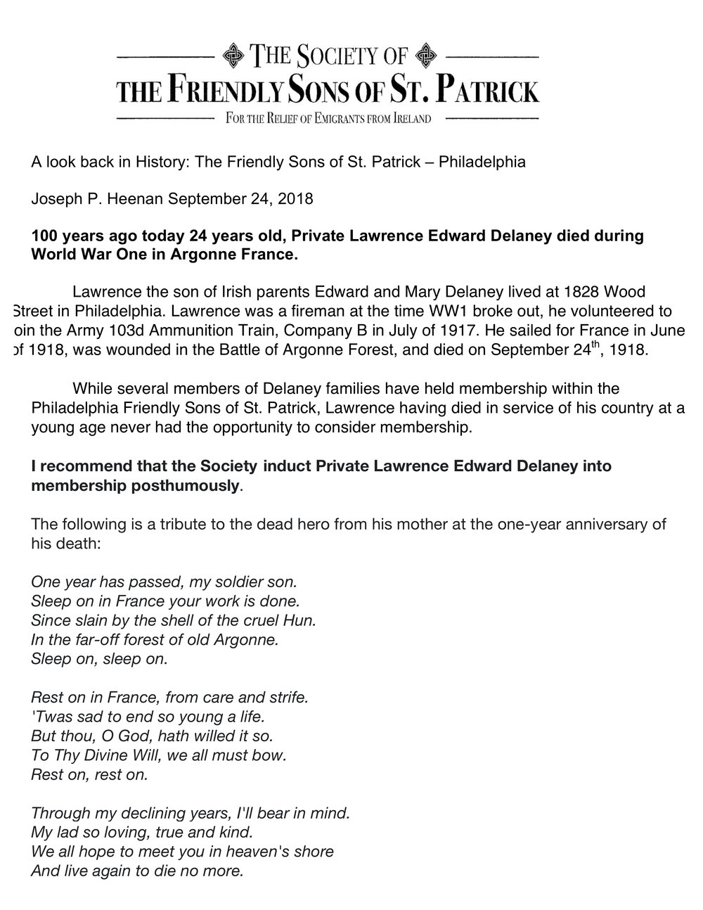 A Look back in History _Philadelphia Friendly Sons of St. Patrick  Private Lawrence Edward Delaney 09-24-2018.jpg