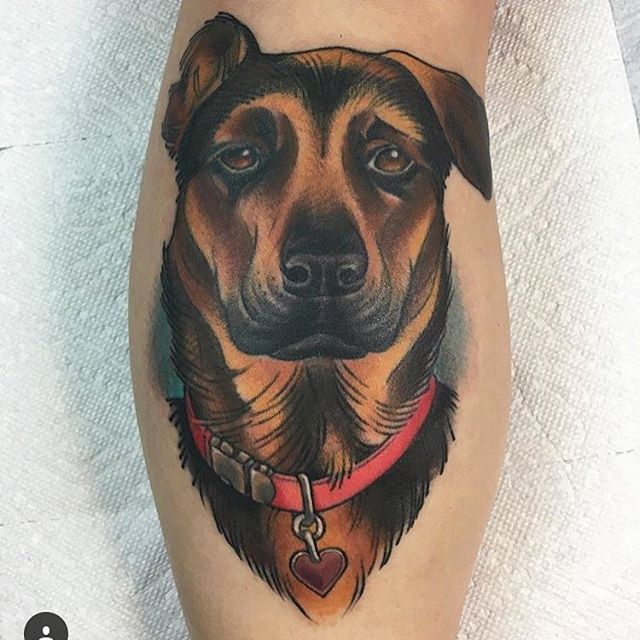 WE ARE OPEN 7 DAYS A WEEK Dog Portrait by @kyleharrisontattoo  Kyle is available for appointments and walk-ins Tuesday-Saturday • 11am-7pm #dogtattoo #dogportrait #pettattoo #colortattoo #blackandgrey #hiddenhistorytattoo #newhampshire #doversfinest #dovernh