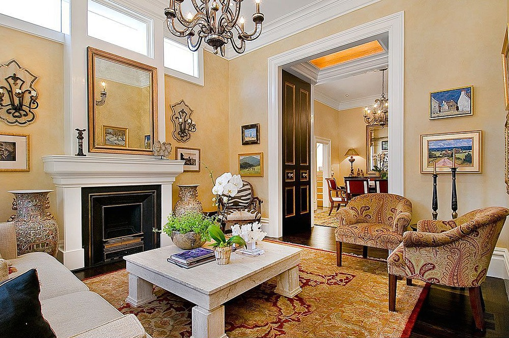 Pacific Heights Living Room Interior Design With Custom Upholstery And  Crown Molding   San Francisco Interior
