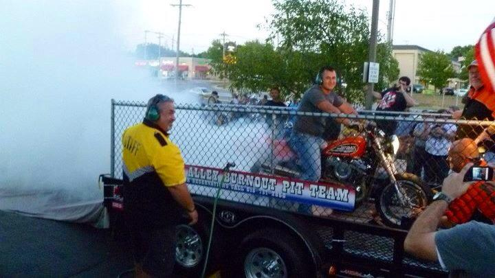 Doing a burnout at a bike night on the Harley Flat Tracker bike.