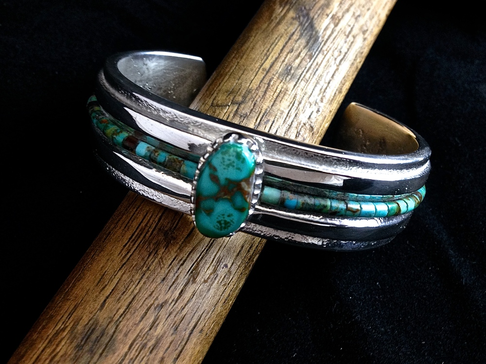 Sterling Silver and Royston Turquoise Cuff