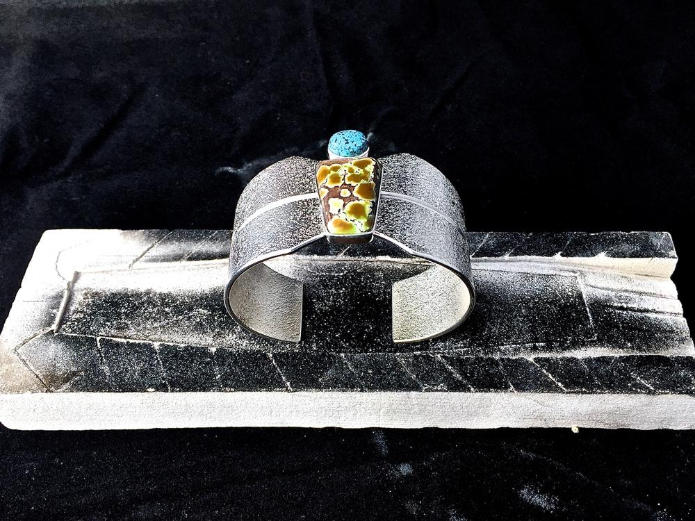 Sterling Silver, Grasshopper & Kingman Turquoise