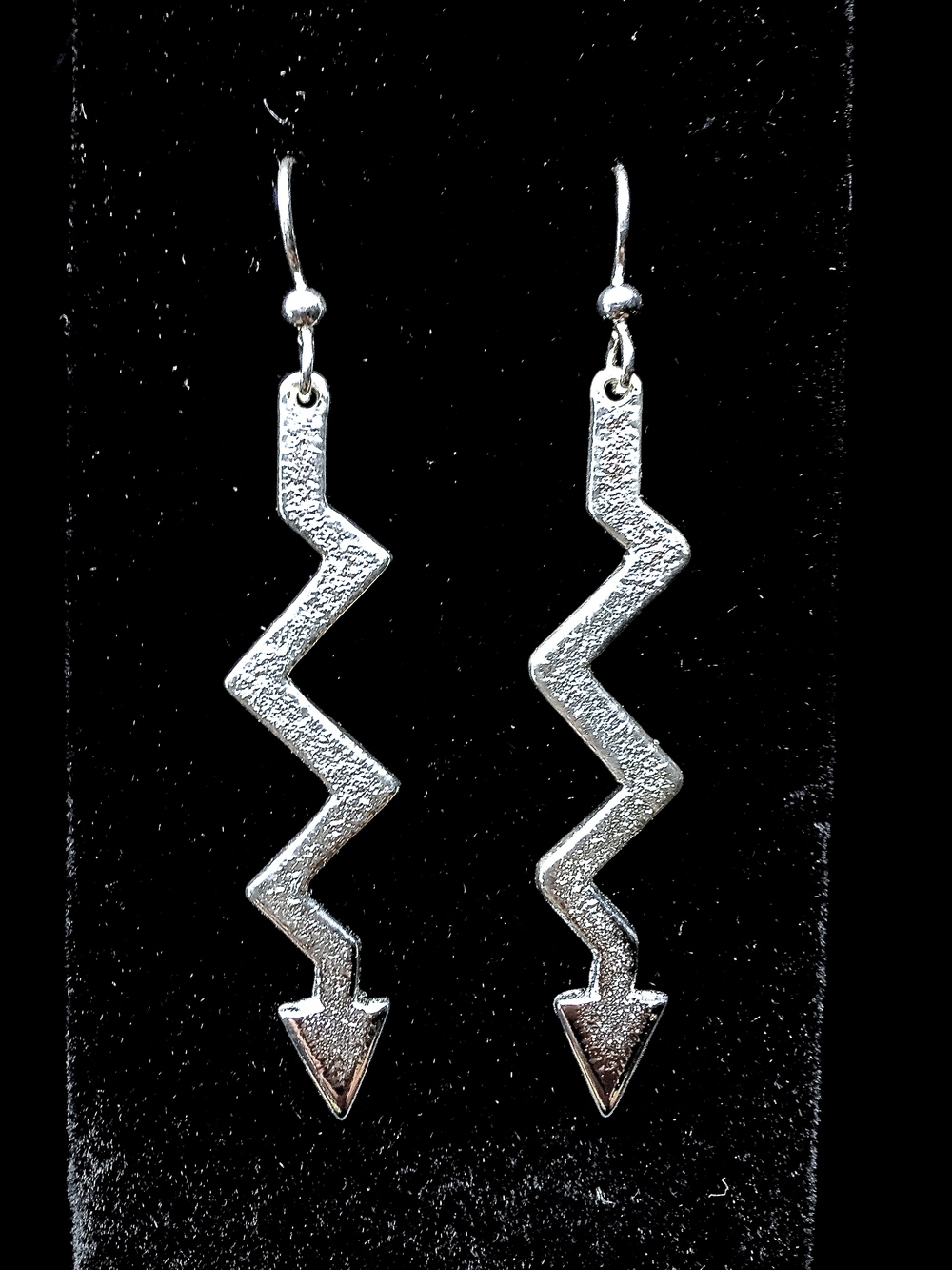 Sterling Silver Lightning Arrow Earrings