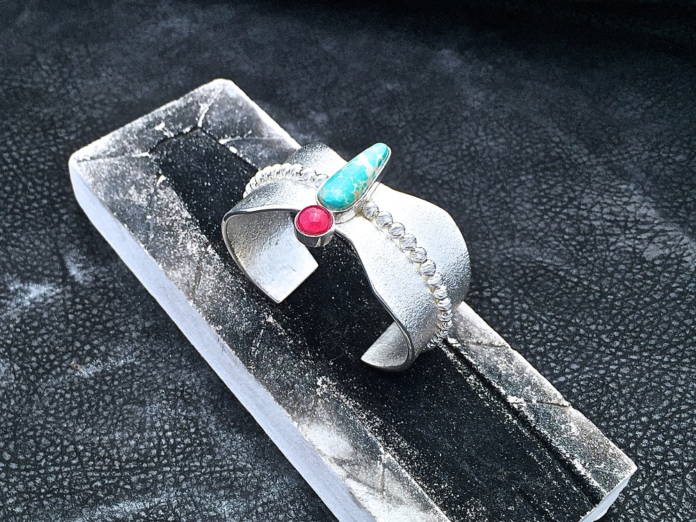 Dragonfly Cuff, Sterling Silver, Grasshopper Turquoise & Red Ruby.  Available at Trickster Gallery, Chicago.