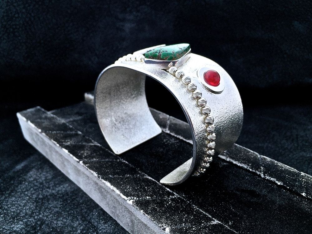 Tritium Arrow Cuff.  Sterling Silver, Red Ruby, & Grasshopper Turquoise