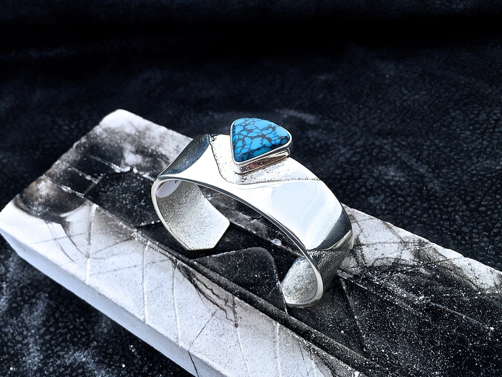 Sterling Silver & Cloud Mountain Turquoise.  Available at Trickster Gallery, Chicago.