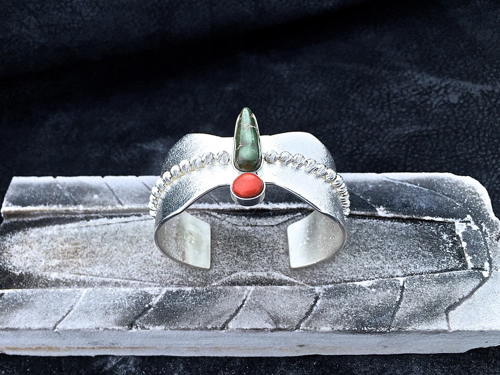 Dragonfly Cuff, Royston Turquoise & Red Coral.