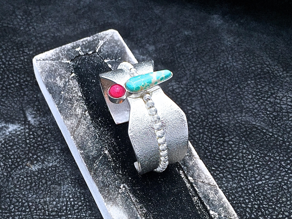 Dragonfly Cuff, Sterling Silver, Grasshopper Turquoise & Red Ruby