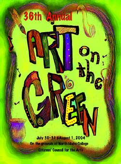 The 2004 Poster Design Contest Winner is  Jannelle Jaquith Ann Travis . Jaquith studied art every semester from grade school through high school, and then at San Francisco University where she majored in art. When Jaquith moved to Coeur d' Alene in 1980 she joined the Coeur d' Alene Art Association where she learned much associating with other artists and by participating in many wonderful workshops. In the twenty four years Jaquith has lived in Coeur d' Alene, she has had her own gallery called Northwest Moods, Art Underground, where she painted and sold watercolors/pen & ink, sculpture, and glazed pottery, greeting cards, business cards, brochures, flyers and had the honor of painting a delightful chair called the Crone's Throne.
