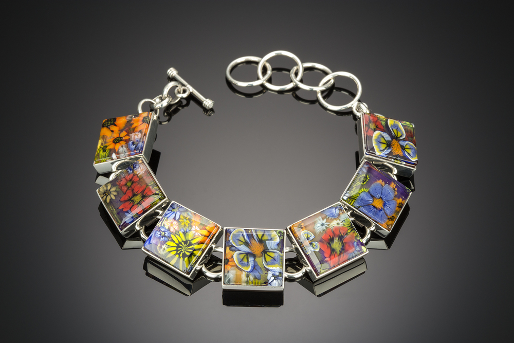 Flower bouquet bracelet by artist Kevin O'Grady of Scottsdale, AZ