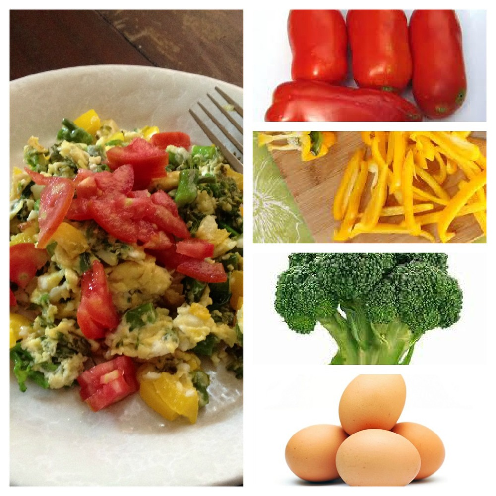Scrambled eggs with veggies