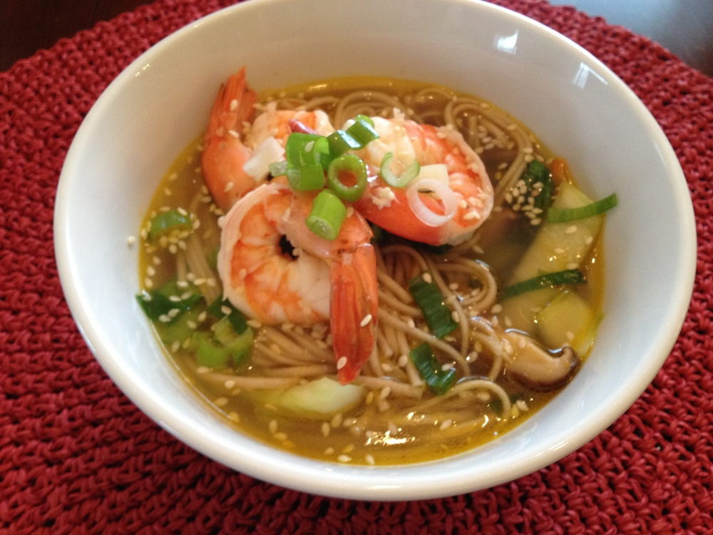 Udon Soup with Shrimp and Vegetables.  A filling and soup with a great combination of protein and vegetables to stable blood sugar and balance hormones.
