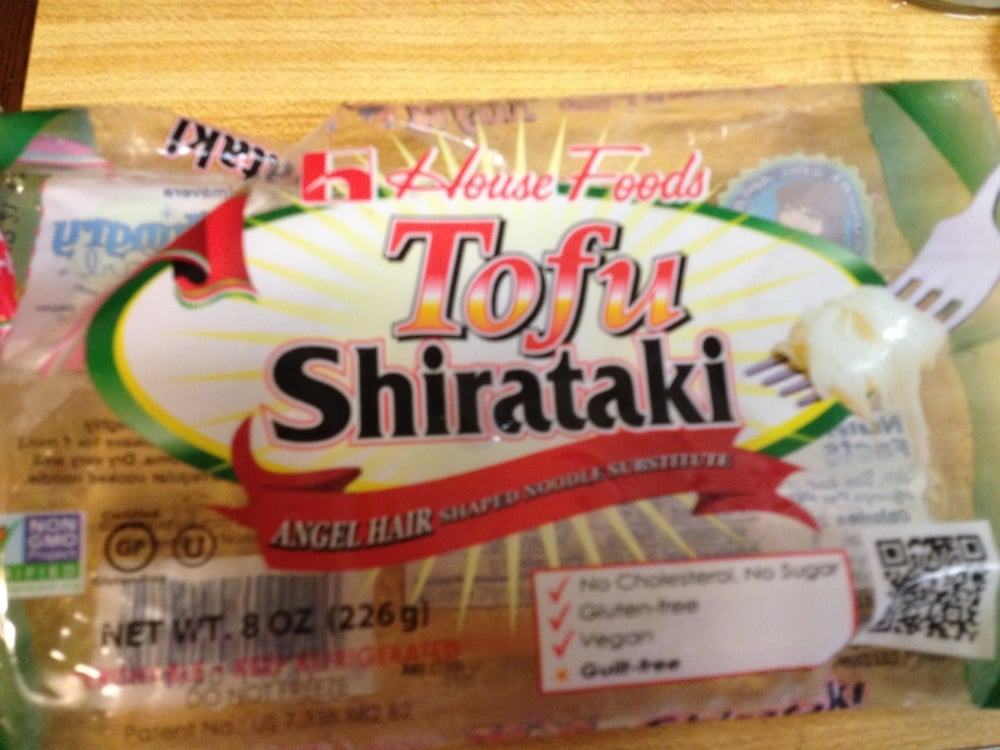 Shirataki noodles can be make with tofu or other vegetarian proteins.  It is a great substitutes for wheat noodles.  It has less carbs and more proteins than wheat noodles.