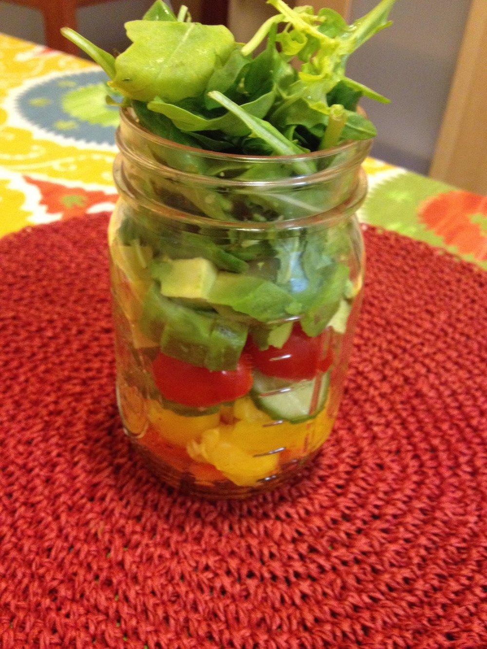 tomato avocado arugula cuccumber salad