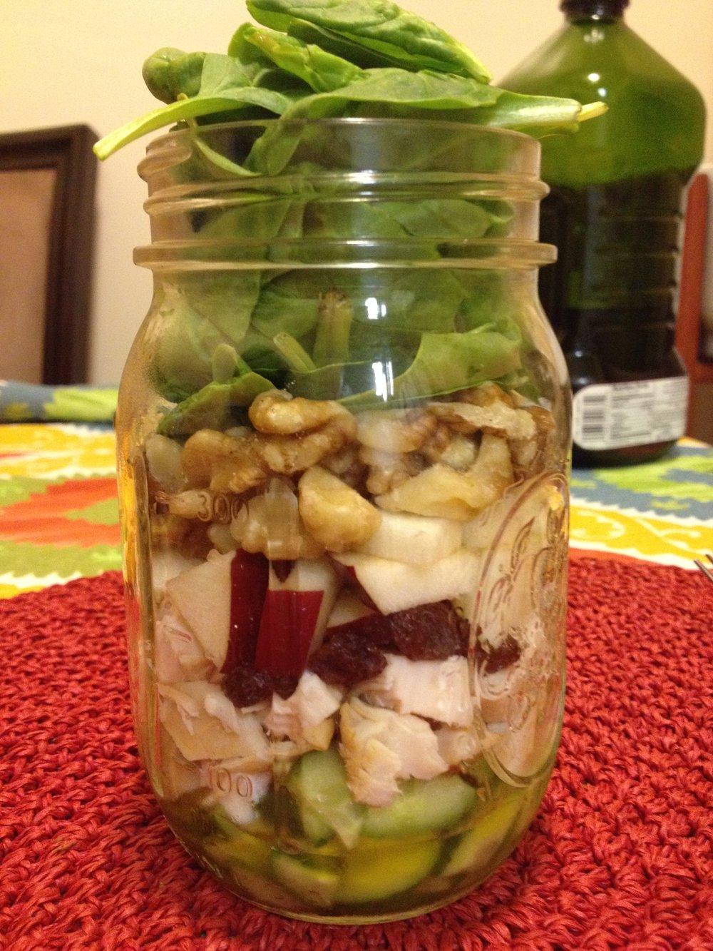 Chicken Apple Walnut Salad Jar