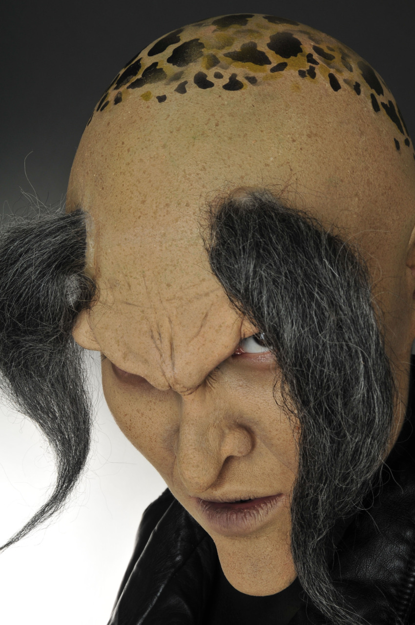 [bald cap, foam latex prosthetics, hair application]