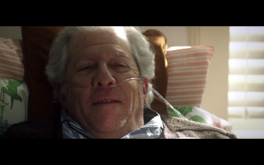 "Old age make-up on Peter Riegert from ""The Walk."""