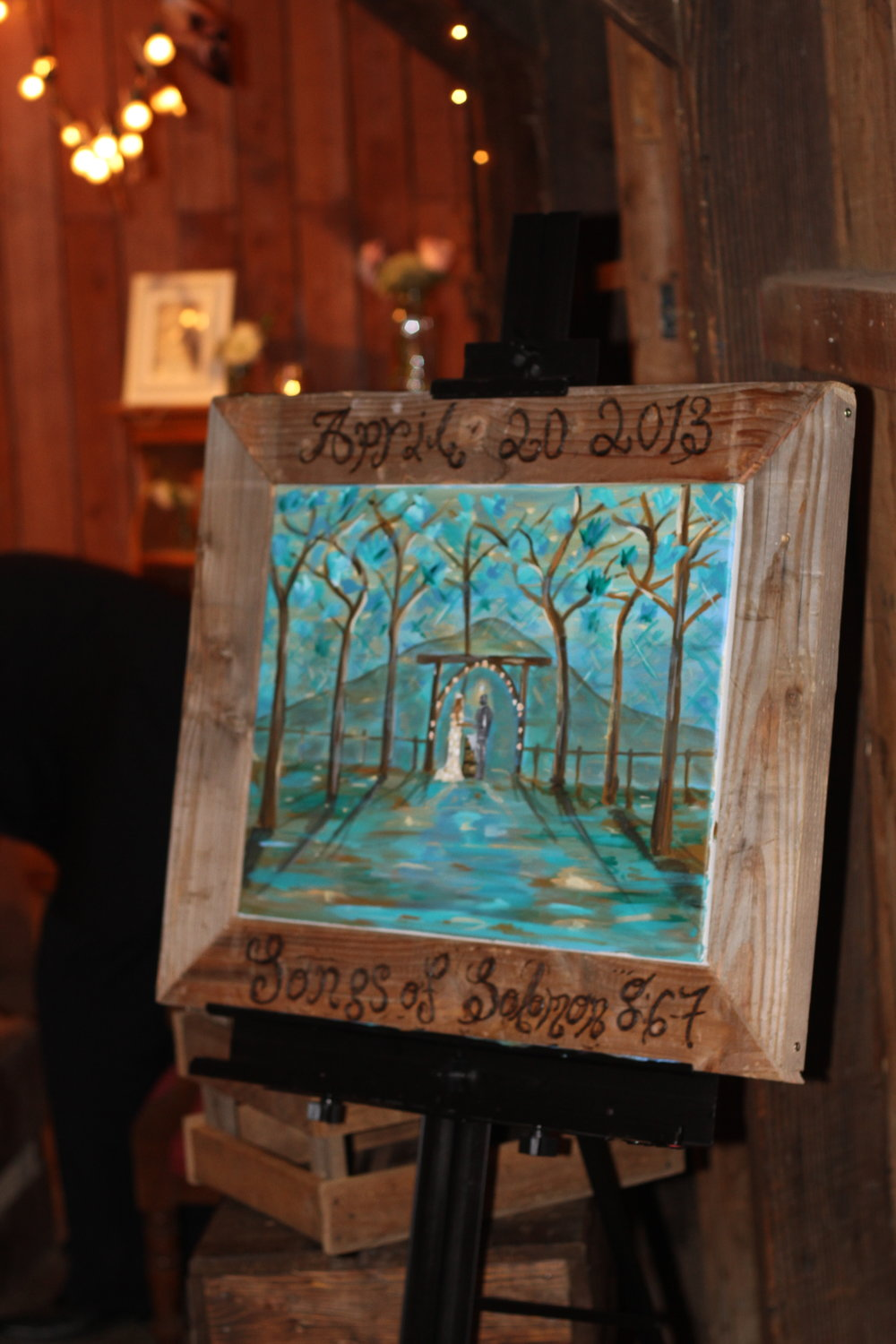 This was painted at the Beautiful Riley Farm in oak glen. This was the most rustic barnyard authentic wedding i have ever painted.