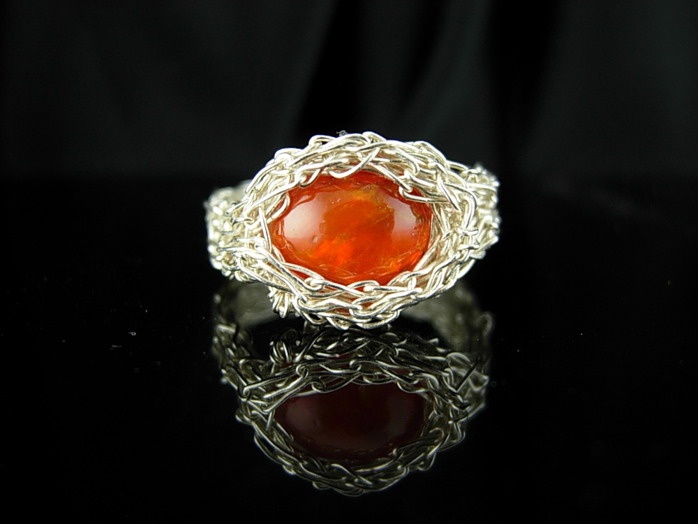 FireOpal and FineSilver Ring