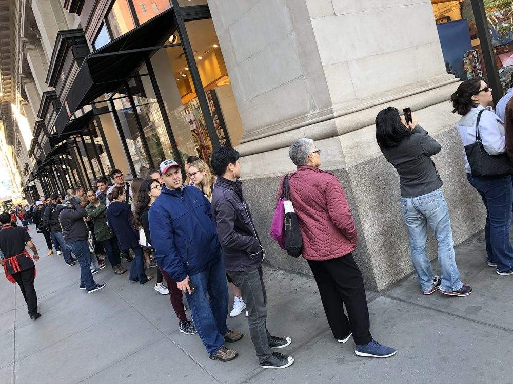 """THE LINE CURLED AROUND THE BLOCK WITH FOLKS HOPING TO GET THEIR OWN """"WOMEN OF NASA"""" SET."""