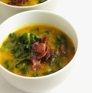 Acorn Squash Soup with Kale , Martha Stewart
