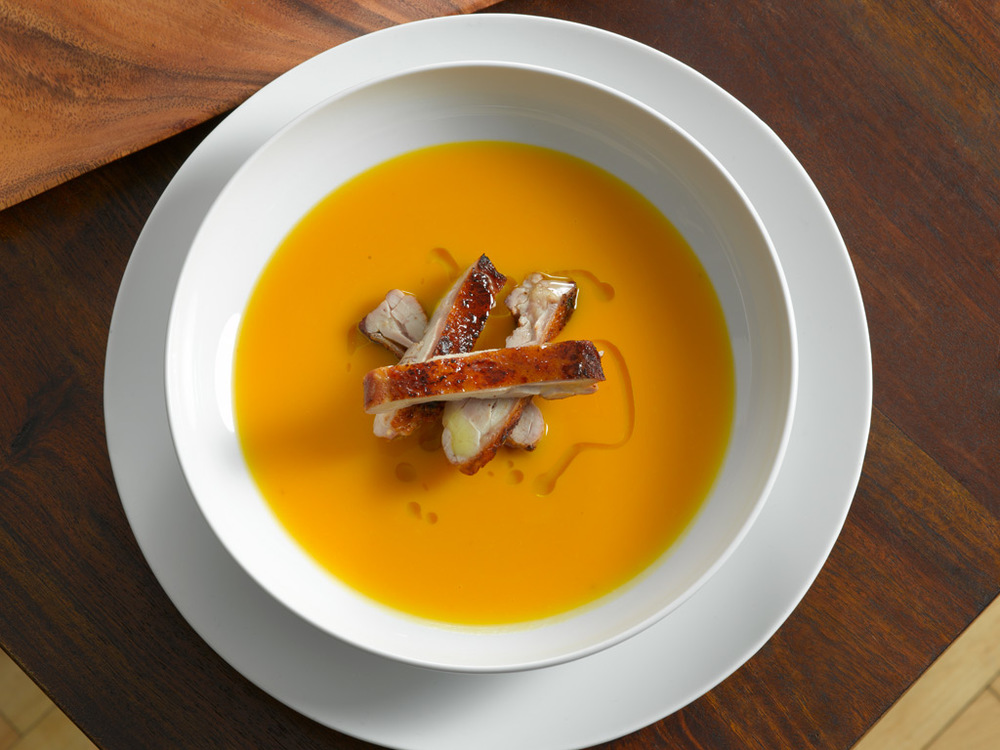 Butternut Squash Soup  : A smooth, rich soup made with chicken stock and a whisper of Tabasco.