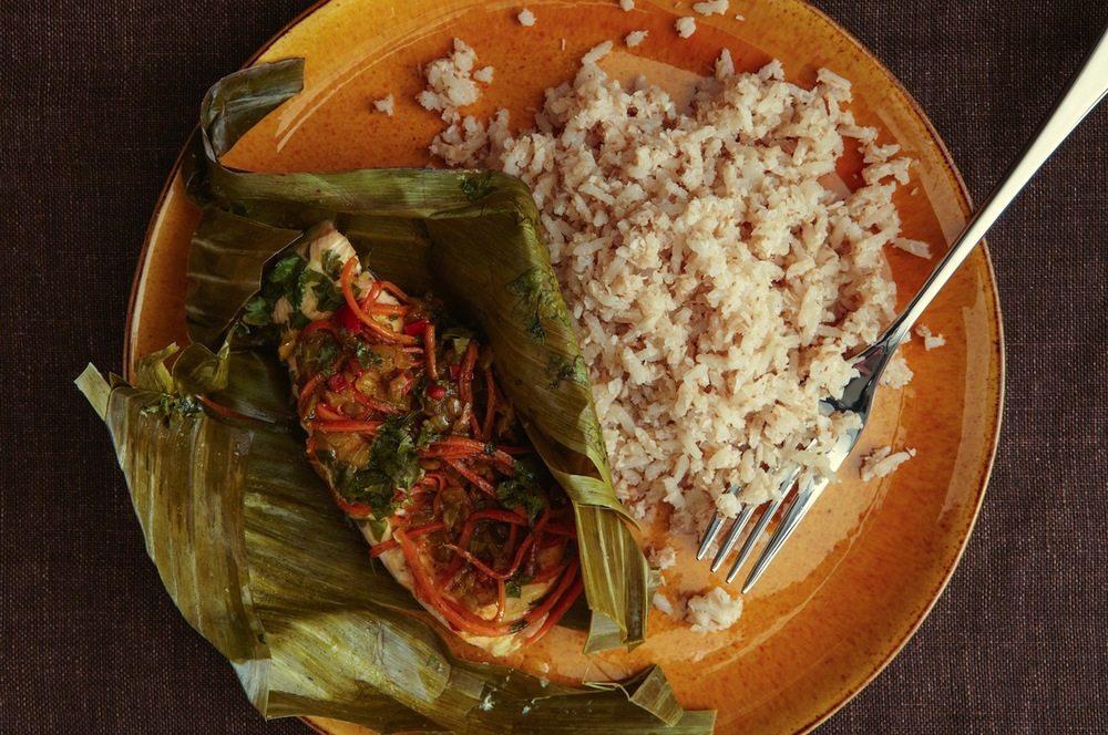 Arctic Char Steamed in Banana Leaves with San Andres Arroz Con Coco