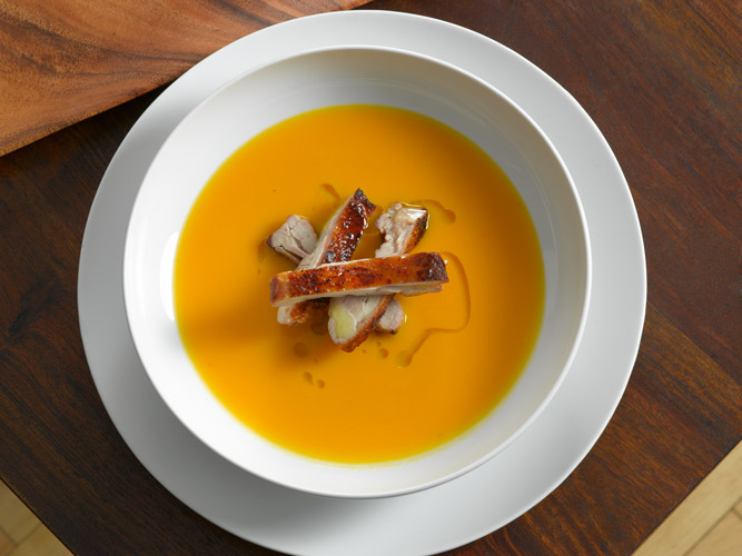 Butternut Squash Soup (topped with Chicken Confit)