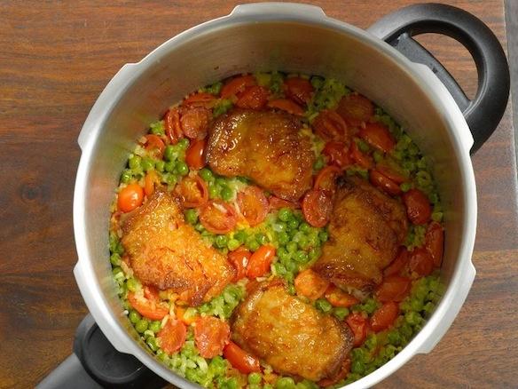 Saffron Chicken Pilaf with Arugula Pistou