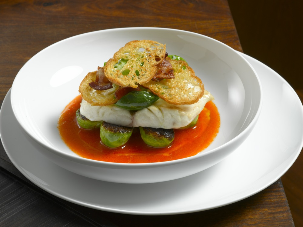 Striped Bass with Spicy Tomato Sauce and Brussel Sprouts