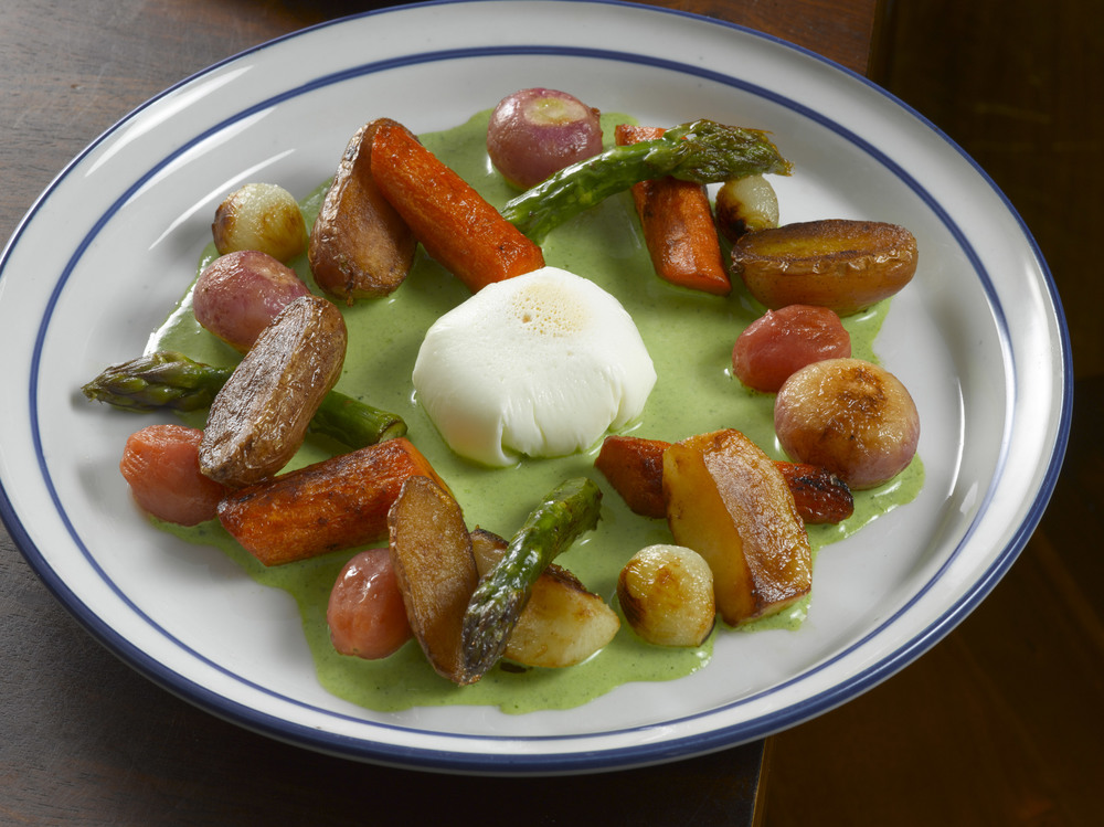 Vegetable Fricassee with Poached Egg