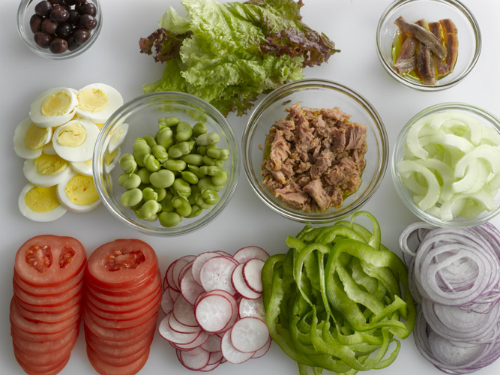 food prep tuna sandwich pan bagnat mise en place