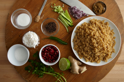 food prep maneet chauhan pomegranate quinoa chaat mise en place