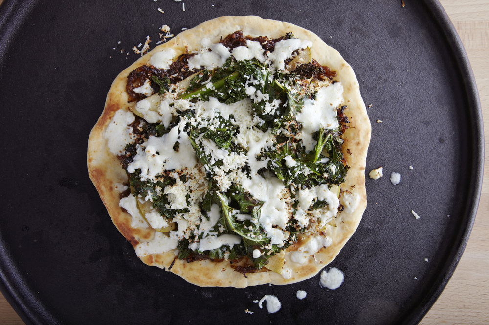 Kale and Curried Apple Naan Pizza