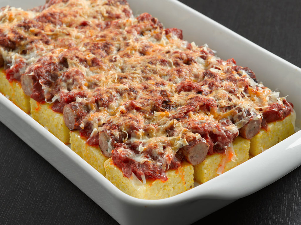 Baked Polenta with Sausage and Mushrooms