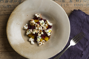 Thyme-Roasted Beets with Bacon Popcorn