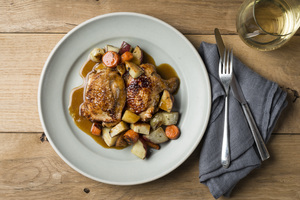 Chicken Thighs Braised in Fennel Caramel, Winter Vegetables