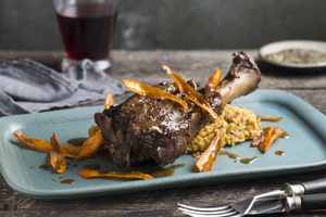 Lamb Shanks, Moroccan-Spiced Winter Vegetables, Chickpea Mash