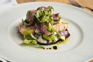 Bacon-Poached Arctic Char, Onion Puree, Brussels Sprout Salad