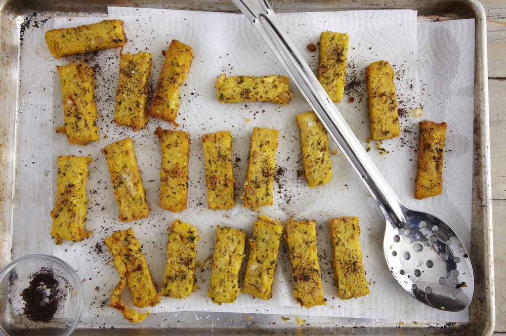 Chickpea Polenta Frites with Sumac and Feta