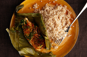Arctic Char Steamed in Banana Leaf with Coconut Rice