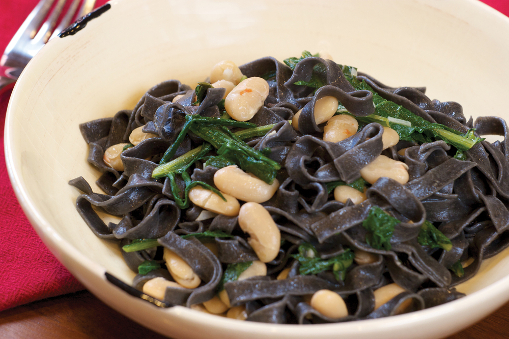 Squid Ink Pasta with Dandelion Greens and Beans
