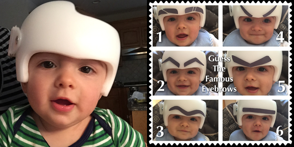 I never did get around to decorating his helmet with the crazy summer we had, but Myla and I did make time for a fun little project... we cut out different shape eyebrows to try on Maddox.