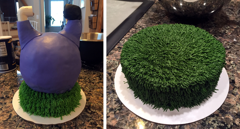 Test cake (L) and Buttercream Turf Base for Final Cake (R)