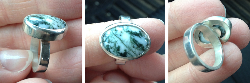 View of completed ring once stone was set in bezel.