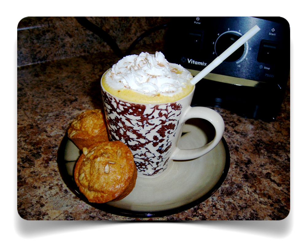 Makes 6 Servings   2 cups of hot milk (almond milk optional)  1/2 cup of double strength coffee  1/2 cup of baked sweet potato (canned pumpkin optional)  2 tsp of white chocolate chips  1/4 cup of white sugar  1/2 tsp pumpkin pie spice      Directions    (1) Start on Variable Speed 1  (2) Switch the machine on  (3) Slowly increase to Variable 10 (or HIGH using a Vitamix 5200 series)  (4) Blend for 30 seconds  Serve immediately