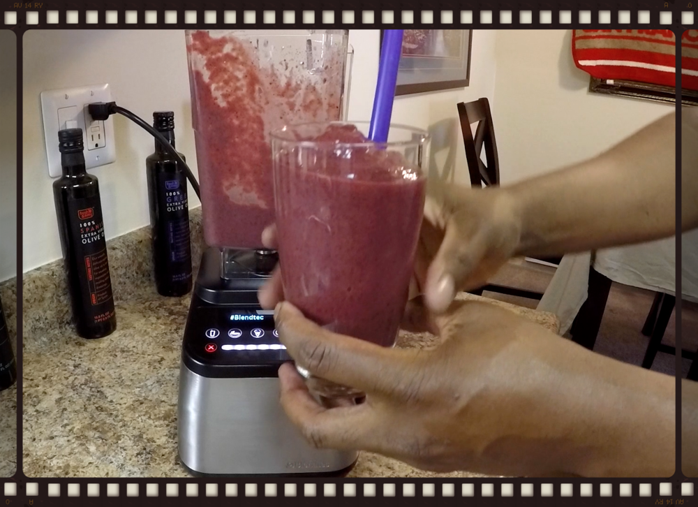 Mixed Berry and Tropical Fruit Smoothie made in the Blendtec Designer 725