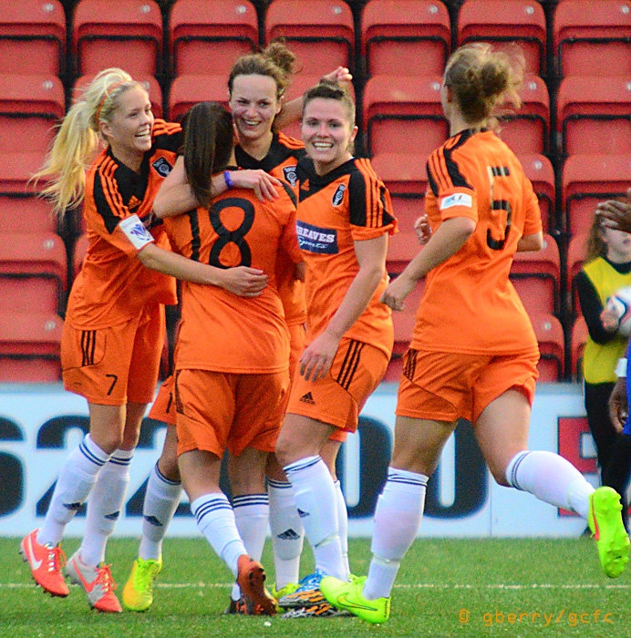 City celebrate Cheryl McCulloch's opening goal. Image by Graeme Berry.