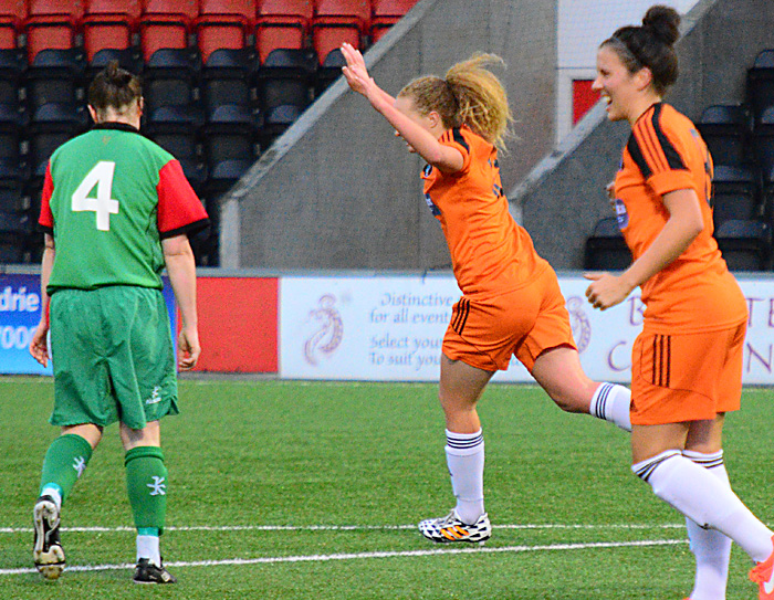 Courtney Whyte celebrates her goal. Image courtesy of Graeme Berry.