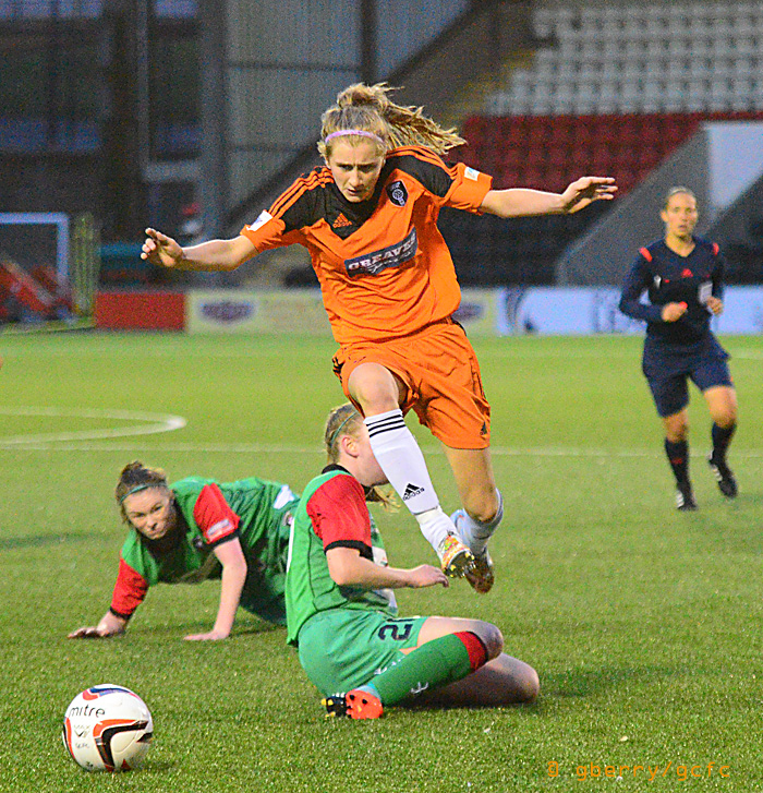 Carla Boyce in action against Glentoran, image by Graeme Berry.